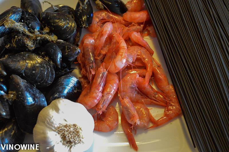Ingredientes espagueti gambitas clotxinas ajo y aceite
