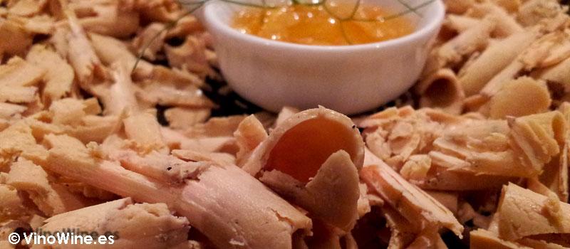 Virutas de foie a la sal con compota de naranja dulce de Restaurante Sant Francesc 52 de Alcoy