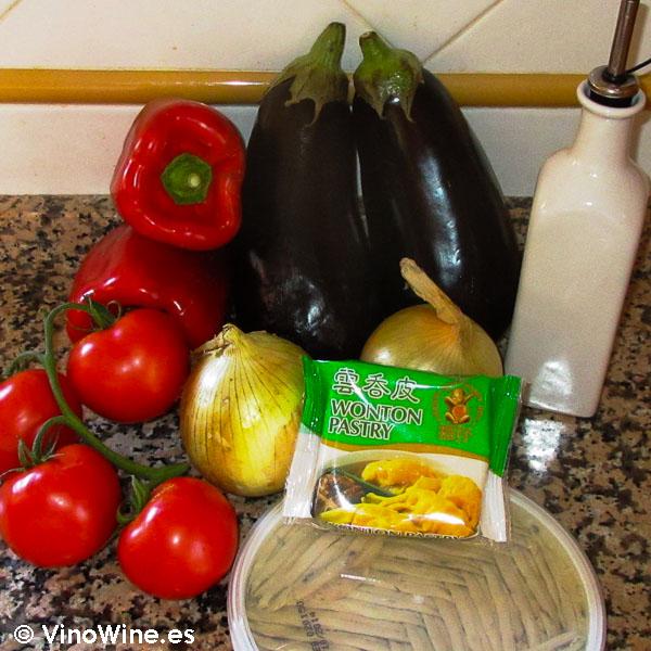 Ingredientes para la receta milhojas de boquerones verduras y wonton de Toni Grimalt