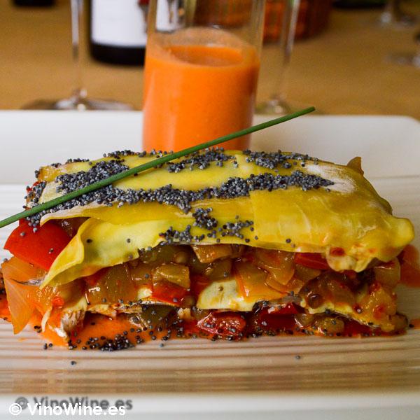 Receta milhojas de boquerones verduras y wonton de Toni Grimalt