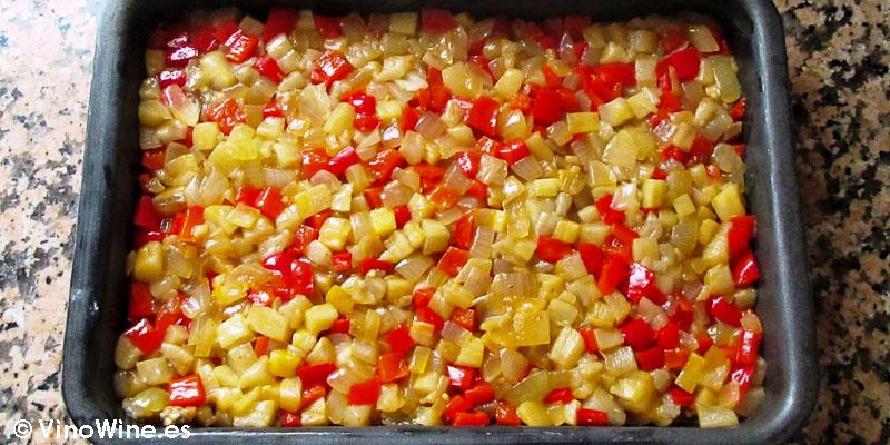 base de wonton y luego capa de verduras receta milhojas de boquerones verduras y wonton de Toni Grimalt