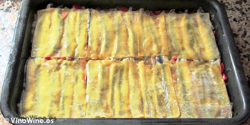 capa final de wonton receta milhojas de boquerones verduras y wonton de Toni Grimalt