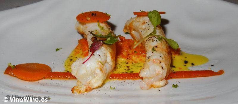 Cigala del Mediterráneo emulsión de naranja zanahoria y comino de Restaurante Bon Amb
