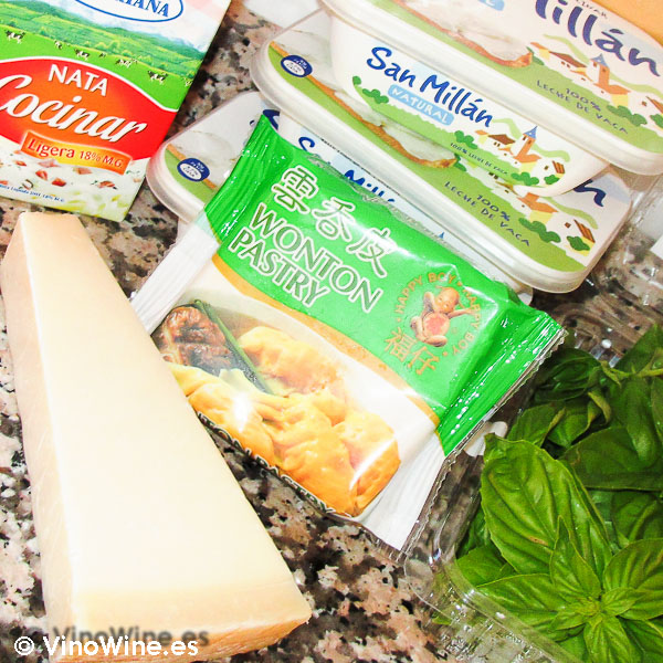 Ingredientes para la lasaña de queso