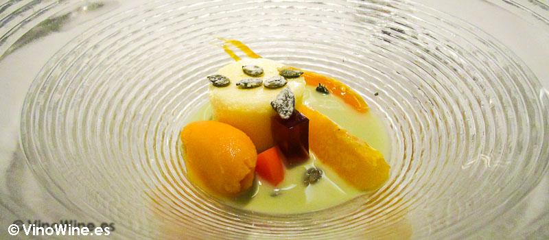 Esponja de cítricos gelée de miel naranja sorbete de calabaza y sopa de eneldo de Maralba by Fran Martínez en Almansa