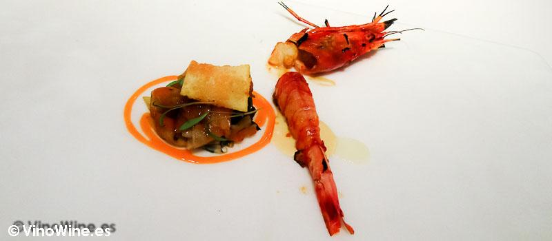 Lienzo 6 Pad thai del Mediterraneo con huevo frito y Gamba rojade Diverxo en Madrid