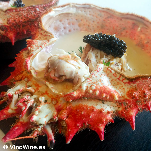 Centollo en copa a los aromas del Restaurante Solana en Cantabria