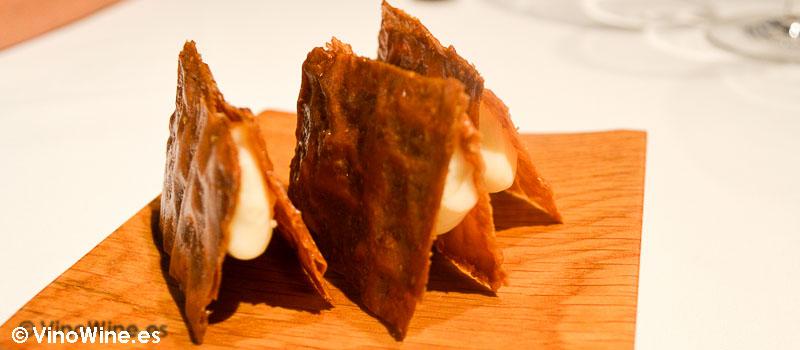 Bocadillo crujiente de quesos asturianos de Casa Gerardo en Prendes Asturias