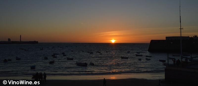Puesta de sol de la bahía de Cádiz