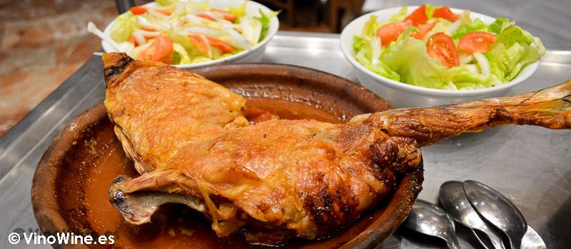 Lechazo del restaurante Mannix en Campaspero provincia de Valladolid