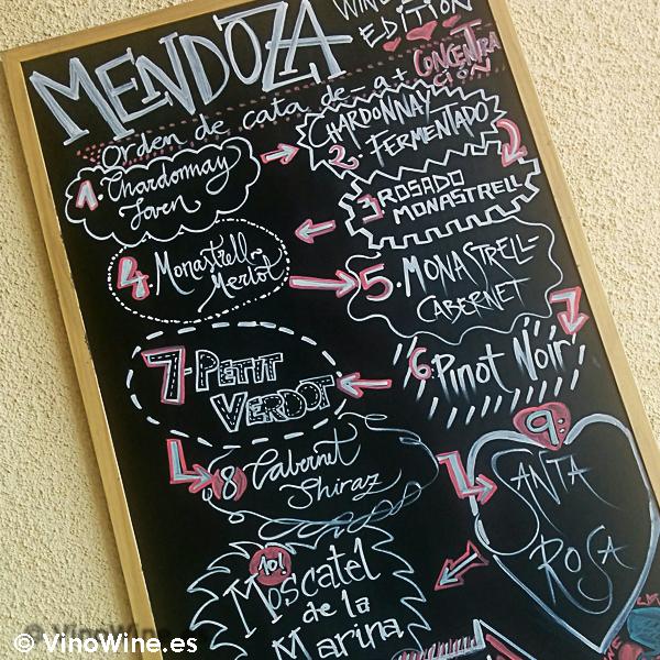 Orden de cata de los vinos ofertados en la I Mendozas Wine Lovers Edition by Bodegas Mendoza
