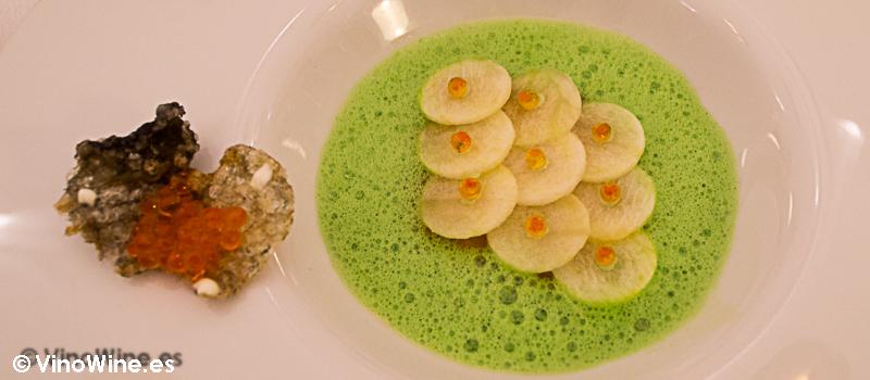 Ensalada liquida de salmon marinado del Restaurante Villena en Segovia