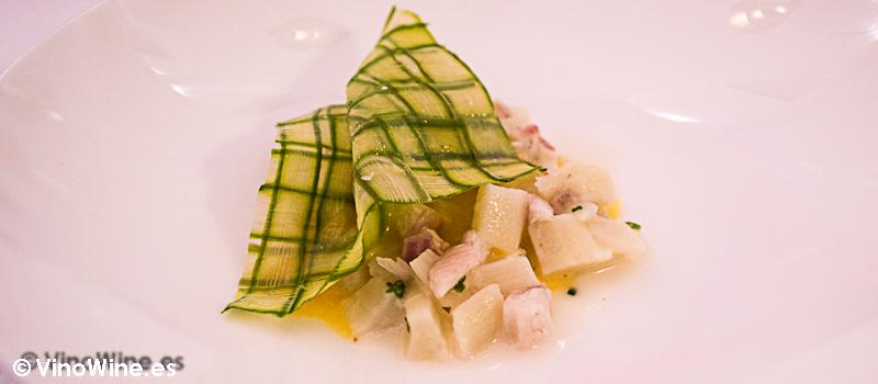 Esparragos, anguila ahumada y estragón Restaurante Villena en Segovia