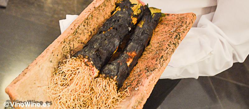 Puerro a la llama del Restaurante Villena en Segovia