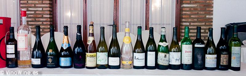 Foto de los vinos de sobaquillo disfrutados en el Restaurante Las Camachas en el Encuentro Verema Montilla Moriles