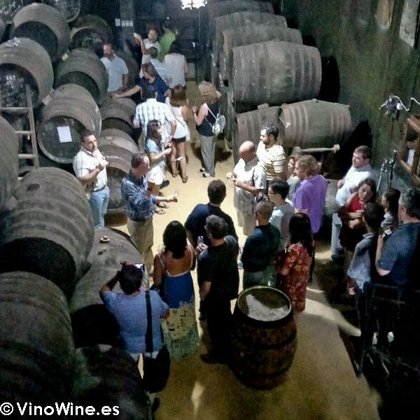 Visita a la sala de botas de la Bodega Toro Albala visitada en el Encuentro Verema Montilla Moriles