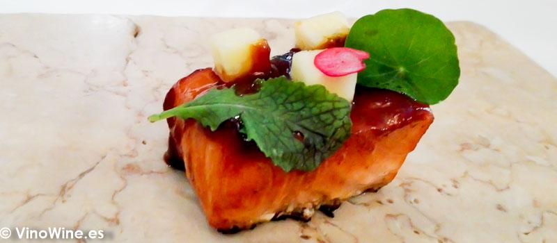Sólo salmón del Restaurante La Candela de Madrid