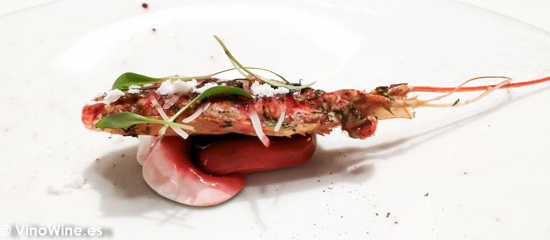 Cabeza de cigala como una ensalada de papaya al Hibiscus del Restaurante DiverXO en Madrid