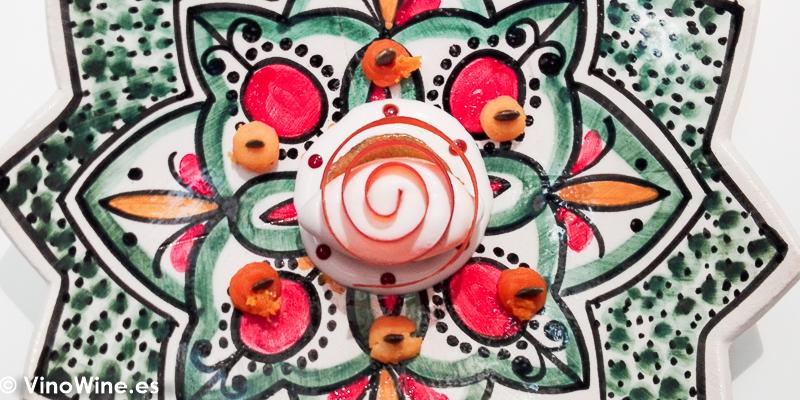 Furniyya de calabaza con naranja amarga y helado de vinagre del Restaurante Noor de Paco Morales en Córdoba