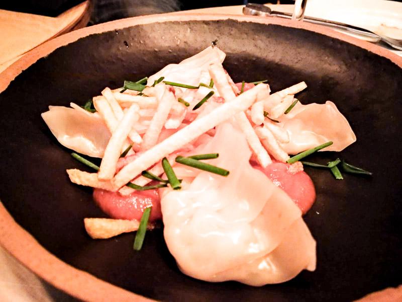 Dumplings de bacalao del Restaurante Arallo Taberna de Madrid