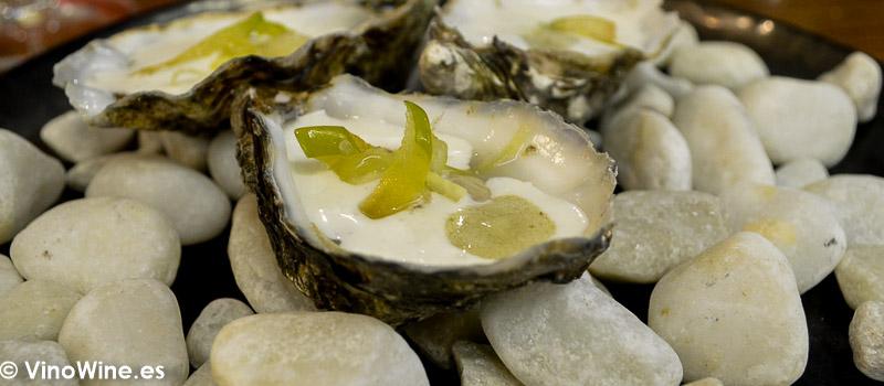 Ostra ajo blanco apio y pepino del Restaurante Galerna de San Sebastian
