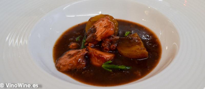 Ragout de pulpo del Cantabrico con papa canaria del Restaurante Galerna en San Sebastian