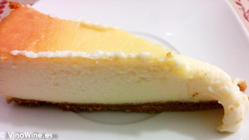 Receta tarta de queso al horno porcion cremosa