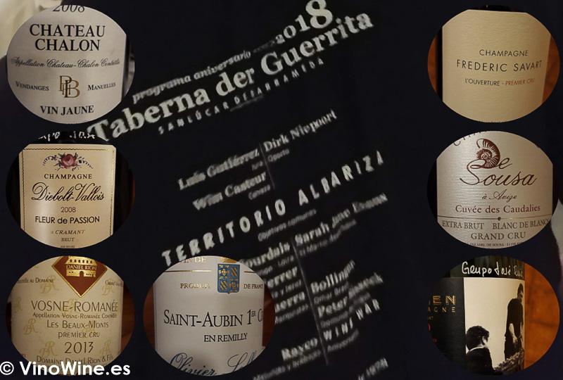 Los vinos que aportamos a la fiesta de la Taberna der Guerrita el domingo noche de Vinoble