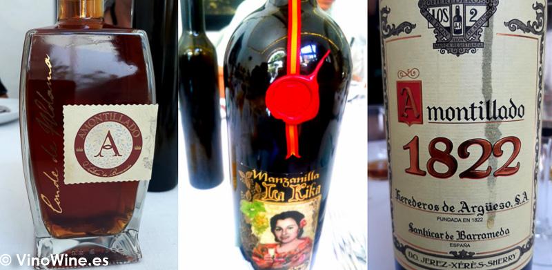 Algunos de los vinos degustados en el Restaurante El Espejo después de la visita a Santa Ana de Bodegas Yuste en Sanlúcar