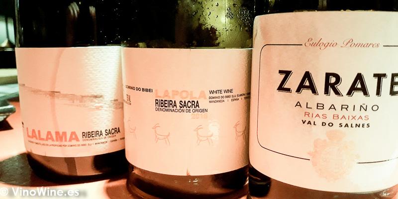 Parte de los vinos degustados en Casa Marcelo de Santiago de Compostela