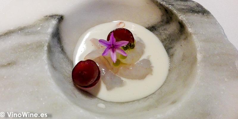 Quisquillas crema de almendra y uva de Teulada del Restaurante Audrey s en Calpe Alicante