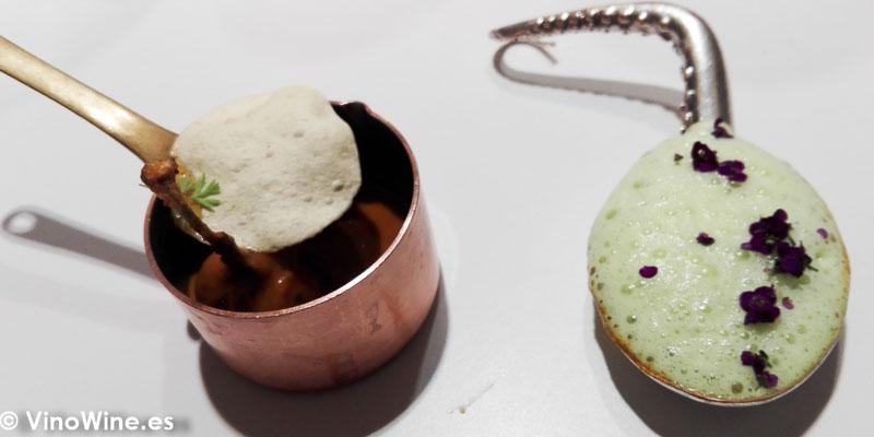 Lentejas masala con suero de mantequilla de oveja y clorofila del Restaurante Diverxo en Madrid