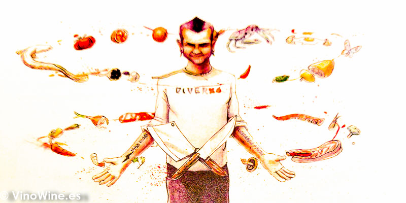 Simpatico dibujo de David Munoz del Restaurante Diverxo en Madrid
