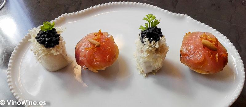 Nabo rabano y huevas de arenque y bonito curado del Restaurante Ricard Camarena en Valencia