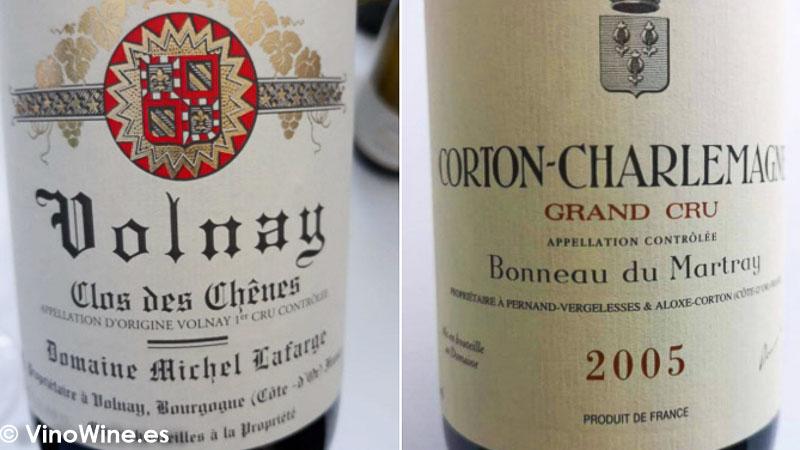Mis dos favoritos de todos los catados en El Alma de los Vinos Unicos 2019 en Burgos Clos des Chenes de Michel Lafarge en Volnay y Bonneau de Martray en Corton Charlemagne