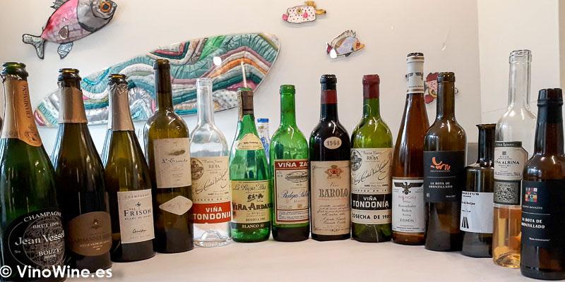 Vinos de sobaquillo degustados en el Restaurante Cobo Vintage visitado con ocasion de El Alma de los Vinos Unicos 2019 en Burgos