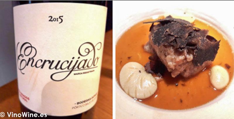 Blanquet con garrofo y trufa negra Melanosporum con Encrucijado 2015 del Restaurante Escaleta de Cocentaina Alicante. El Maridaje en los Restaurantes.