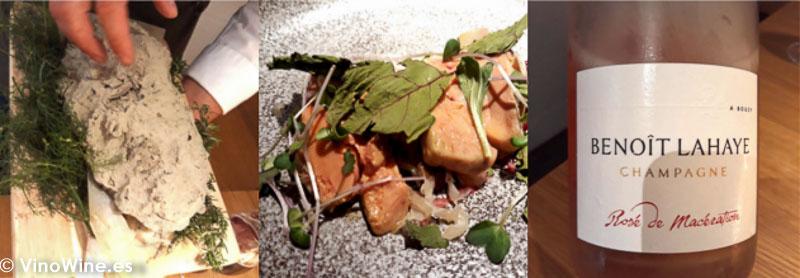 Hígado de pato al barro y remolacha con Champagne Benoit Lahaye del Restaurante Escaleta de Cocentaina Alicatne. El Maridaje en los Restaurantes.