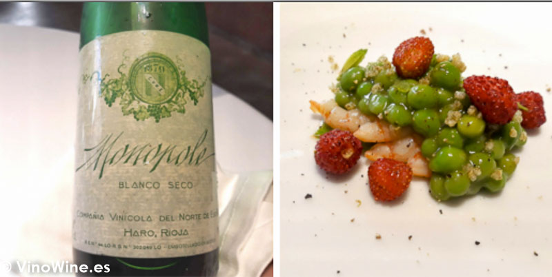 Quisquillas guisantes encurtidos y fresas de Canals con Monopole 1984 blanco de Cune del Restaurante Ricard Camarena de Valencia. El Maridaje en los Restaurantes.