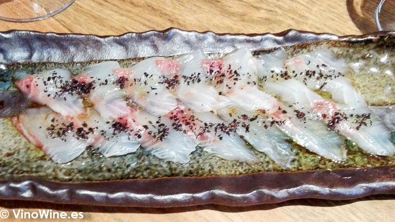 Usuzukuri de dorada del Restaurante Nozomi en Valencia