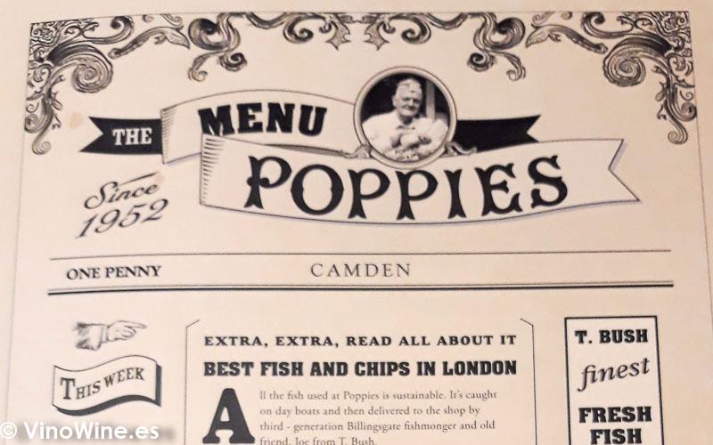 Bajo mantel de Poppies Fish and Chips en el barrio de Camden en Londres