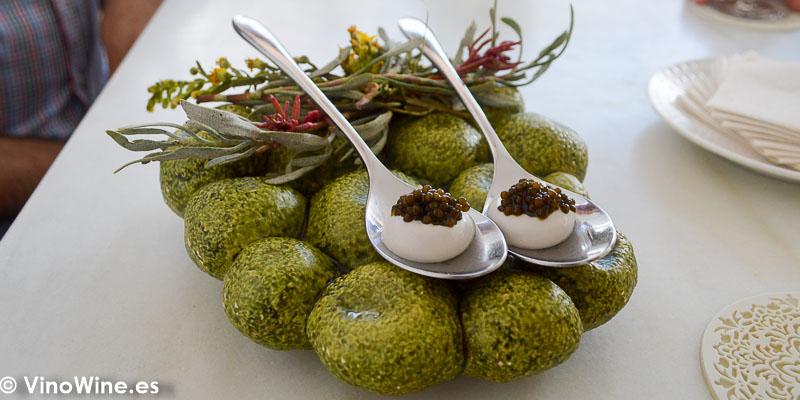 Blini de ostion y caviar del Restaurante Aponiente el Chef del Mar