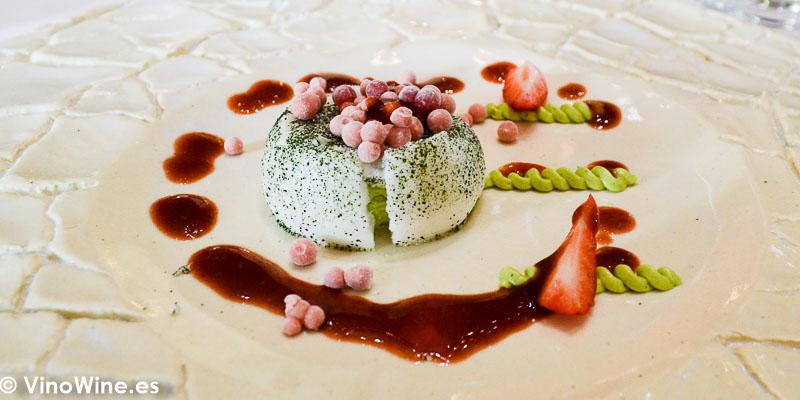 Chocolate fresa plancton wasabi Jerez postre degustado en el Restaurante Aponiente el Chef del Mar