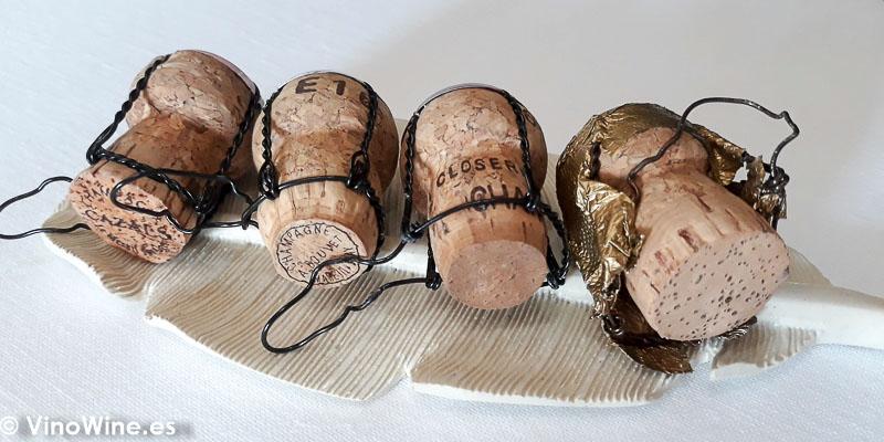 Tapones de los champagnes degustados en el Restaurante Aponiente el Chef del Mar