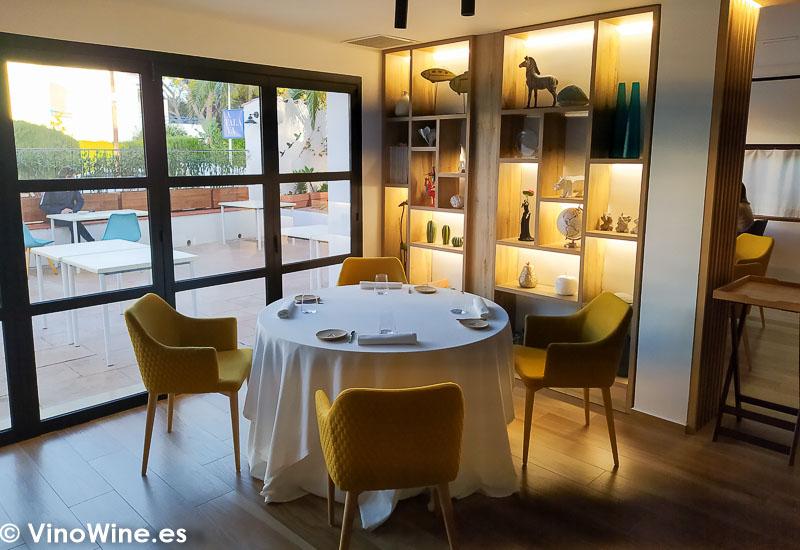 Bonita mesa del comedor del Restaurante Atalaya en Alcossebre